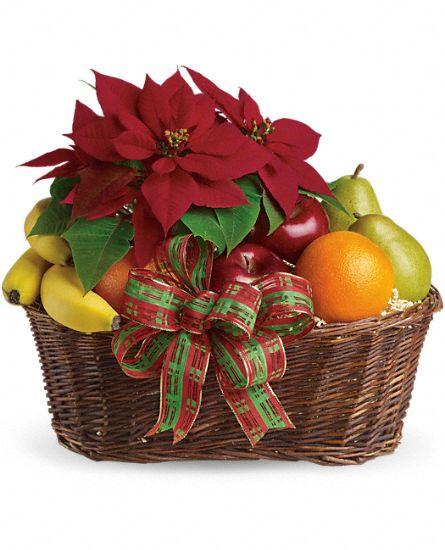 Fruit And Poinsettia Basket T135 1a Sublime Florist