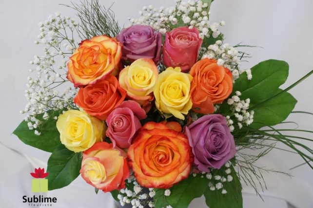 12 roses mix couleurs SUBFC-018