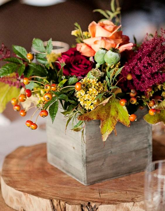 Arrangement fleurs automne